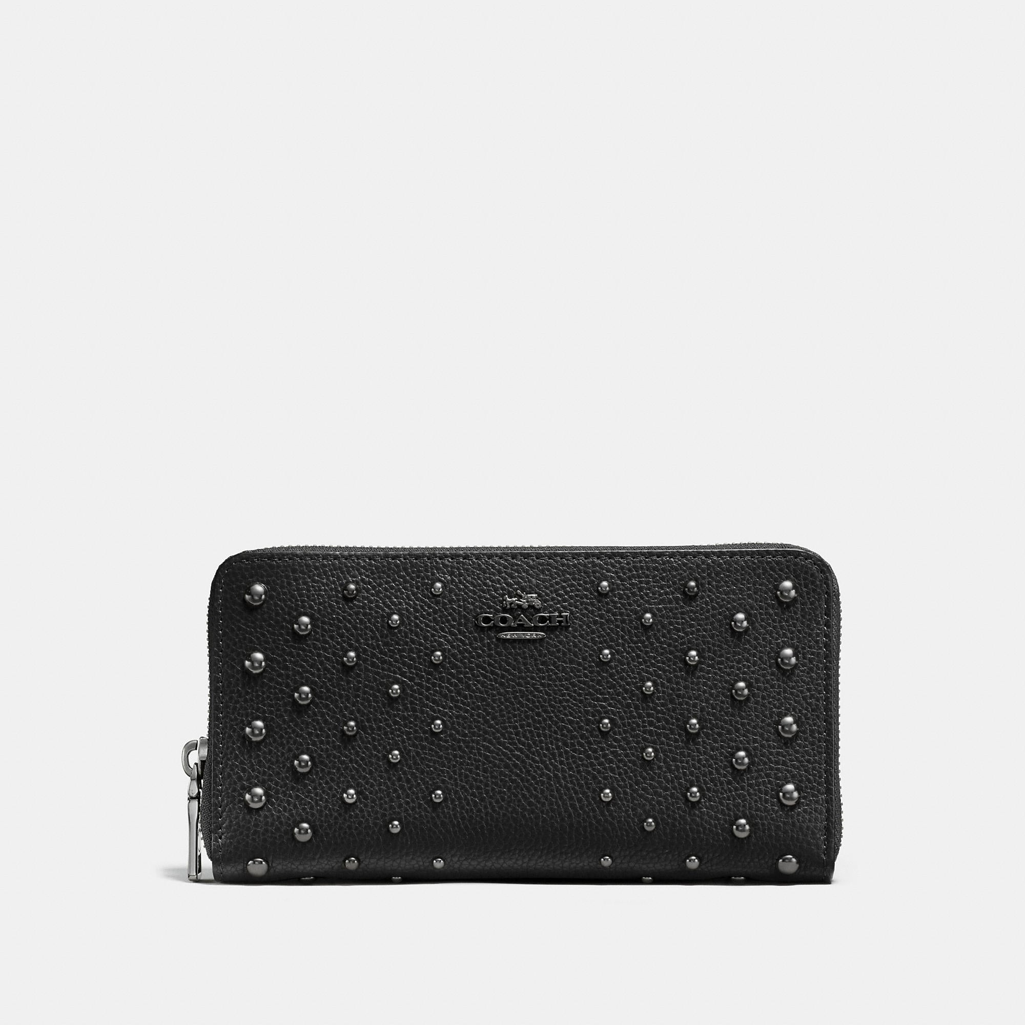 Coach Accordion Zip Wallet In Polished Pebble Leather With Ombre Rivets