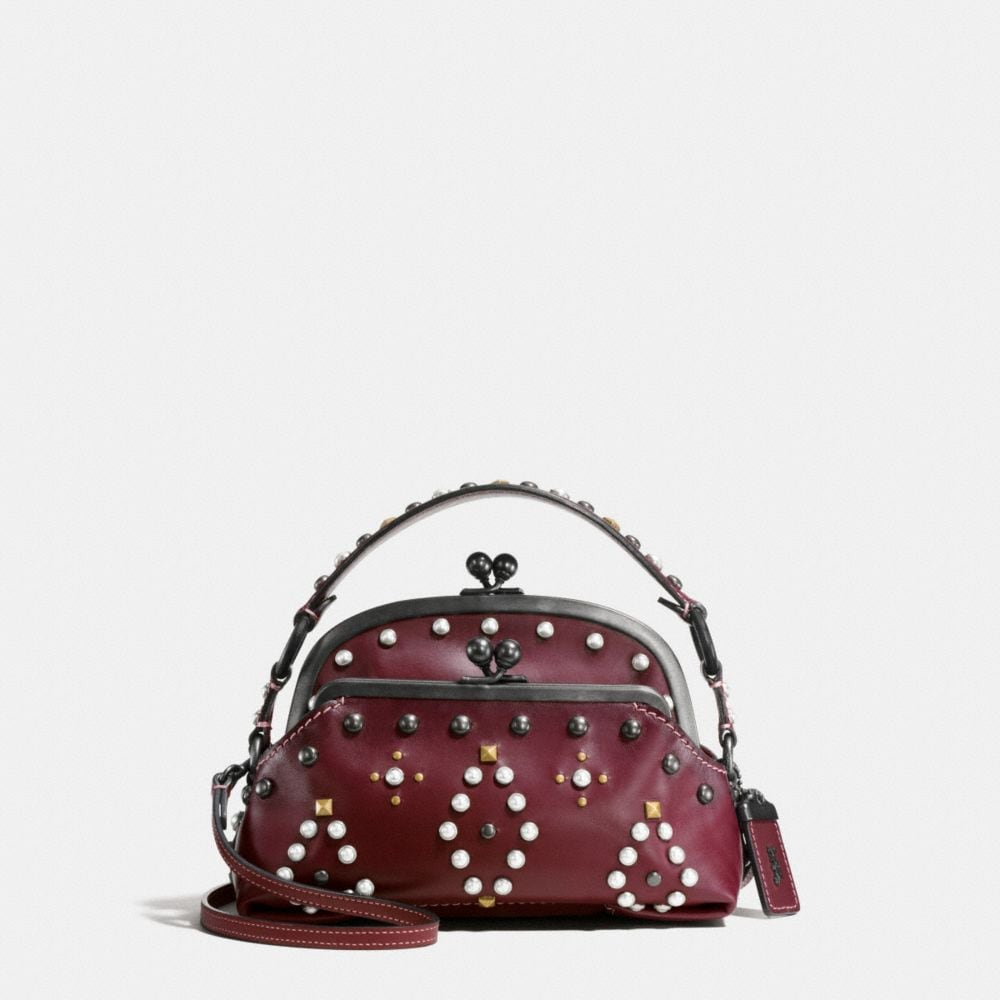 Western Rivets Triple Frame Outlaw Satchel in Glovetanned Leather