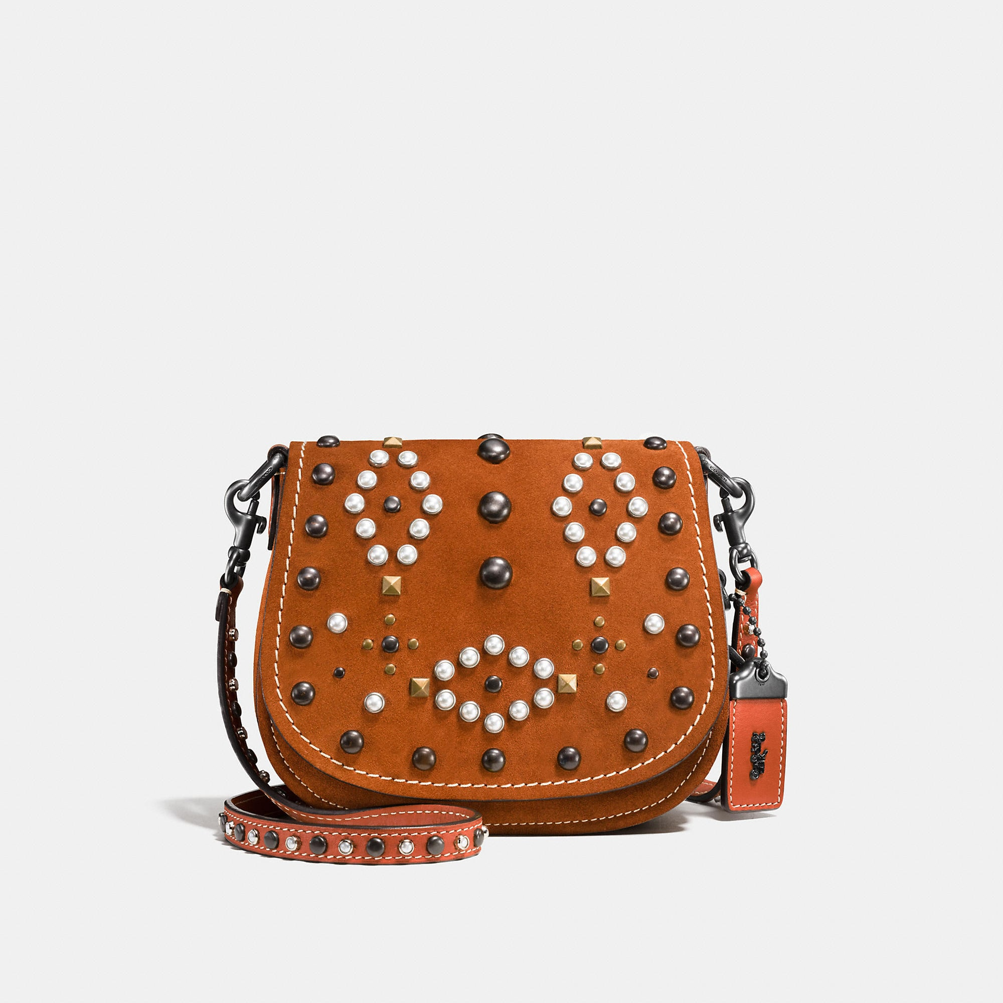 Coach Western Rivets Saddle Bag 17 In Suede