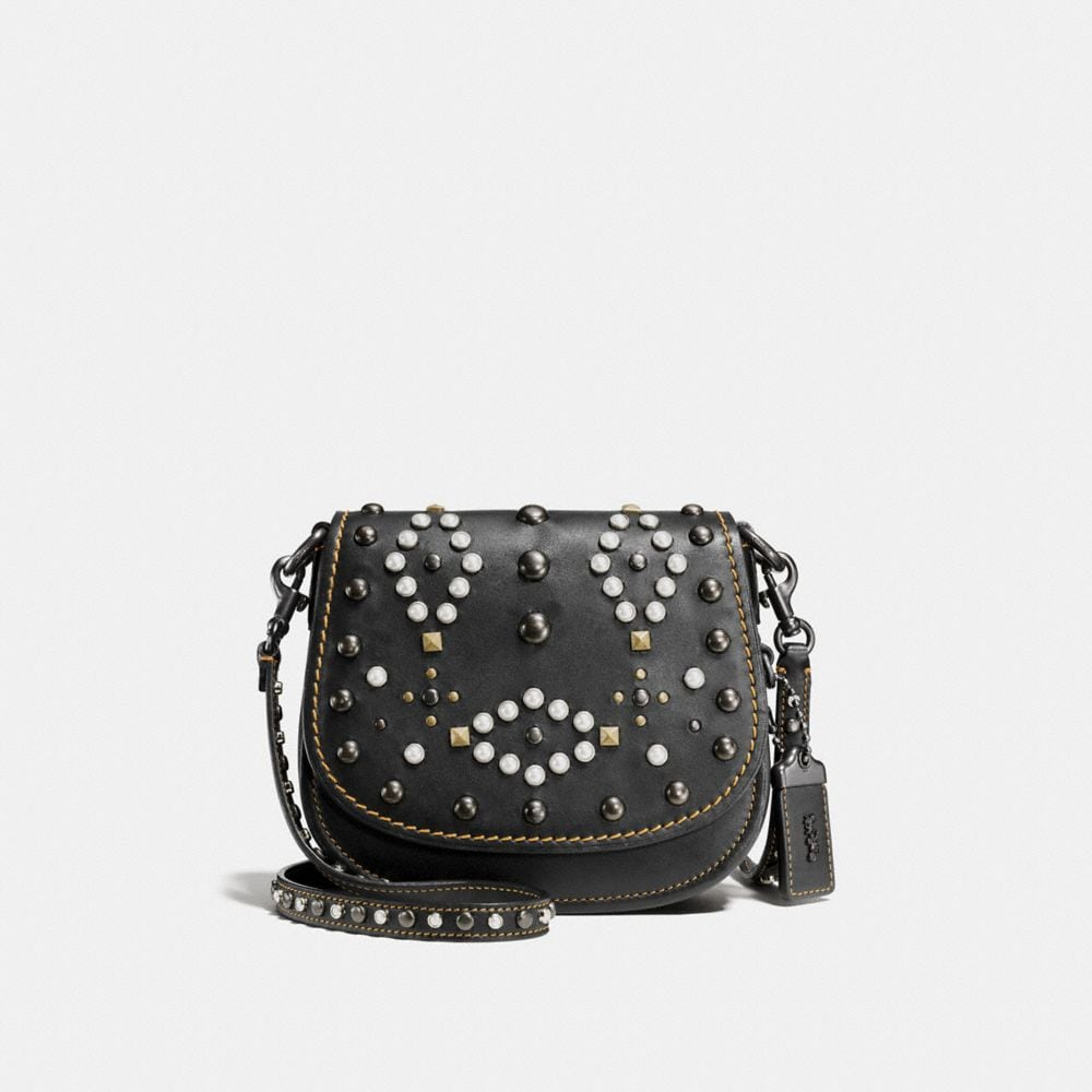 Coach Western Rivets Saddle Bag 17 in Glovetanned Leather
