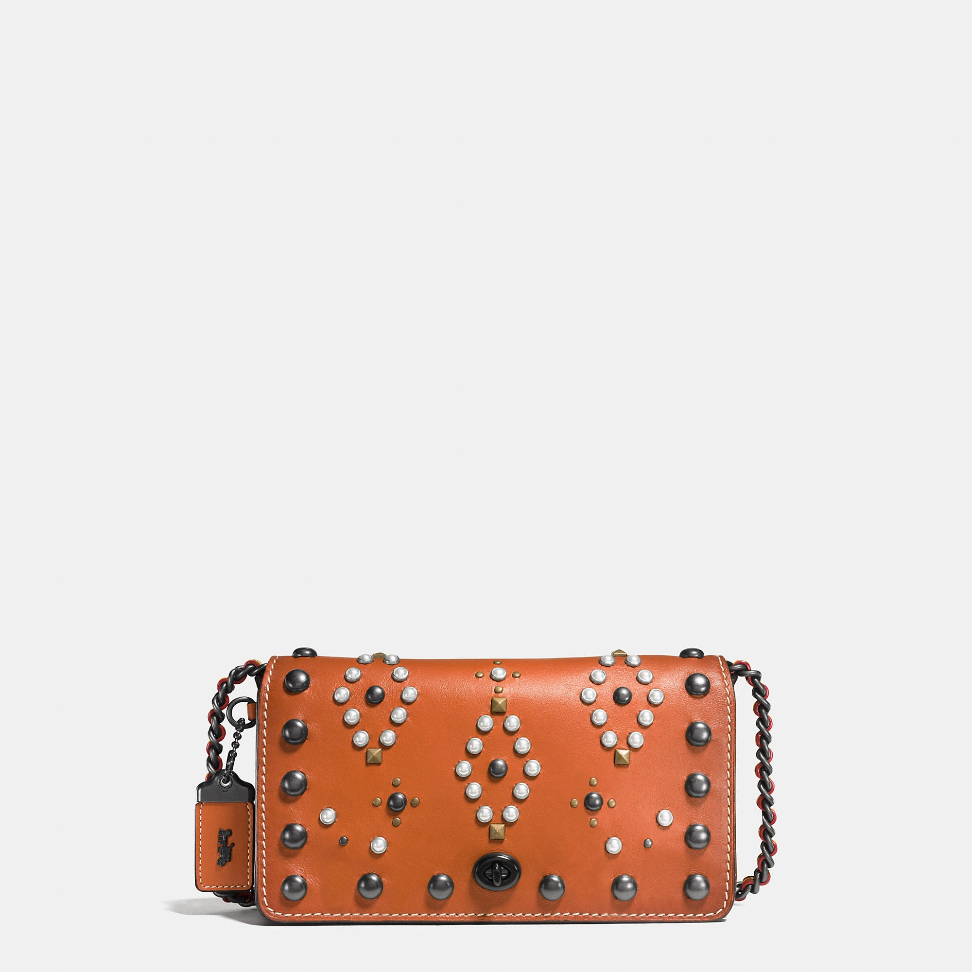 Coach Western Rivets Dinky Crossbody In Glovetanned Leather