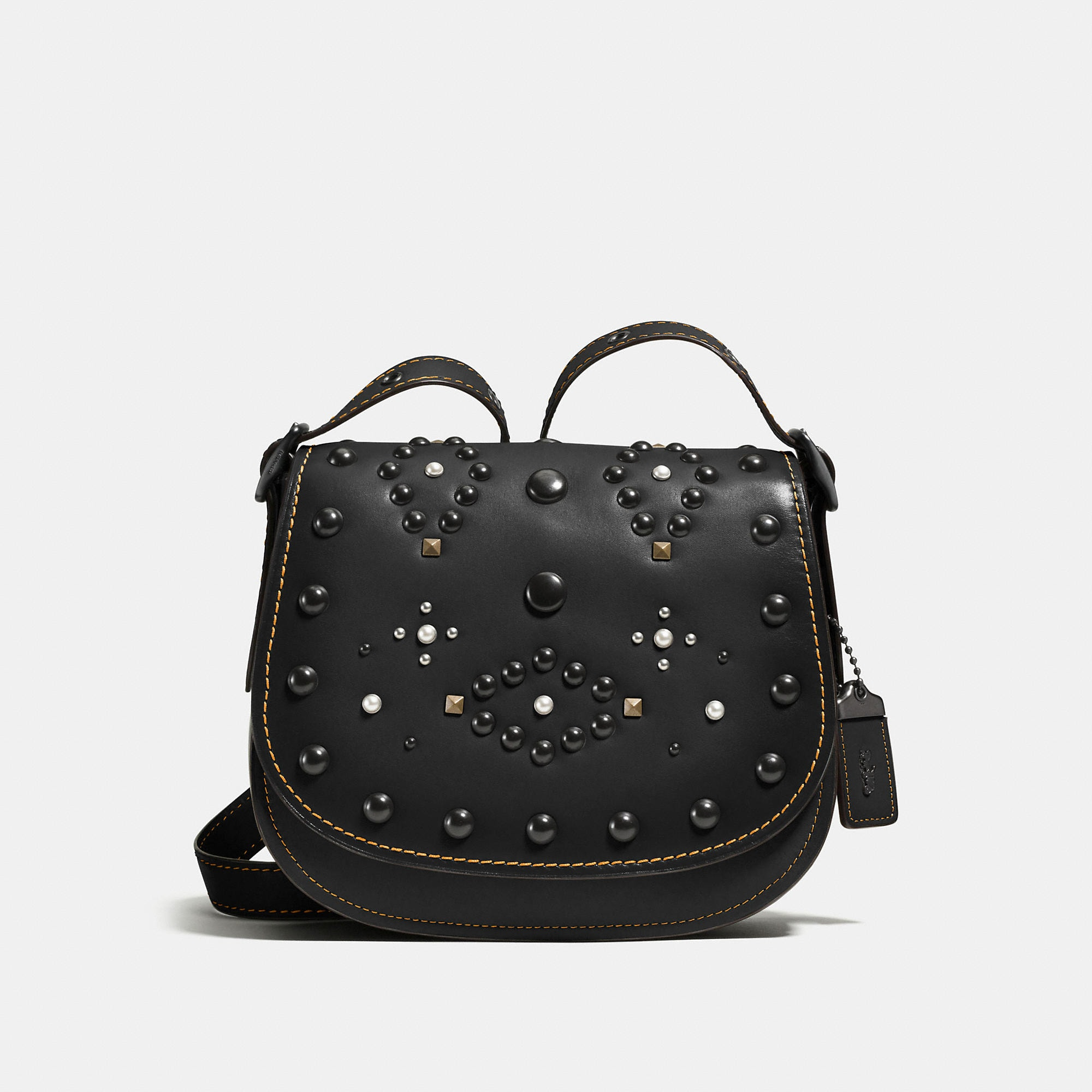 Coach Western Rivets Saddle Bag 23 In Glovetanned Leather