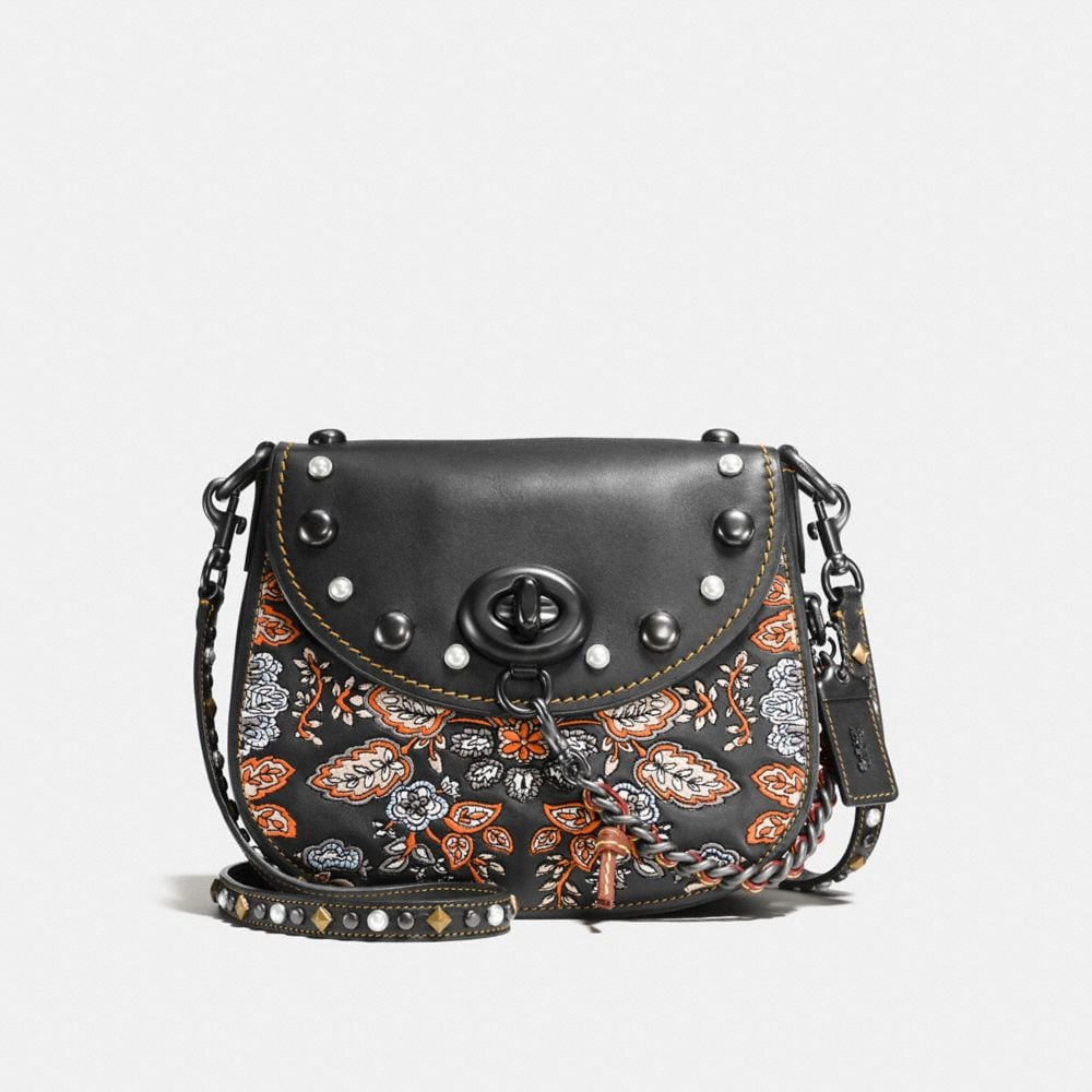EMBELLISHED FOREST FLOWER TURNLOCK SADDLE BAG 23 IN GLOVETANNED LEATHER