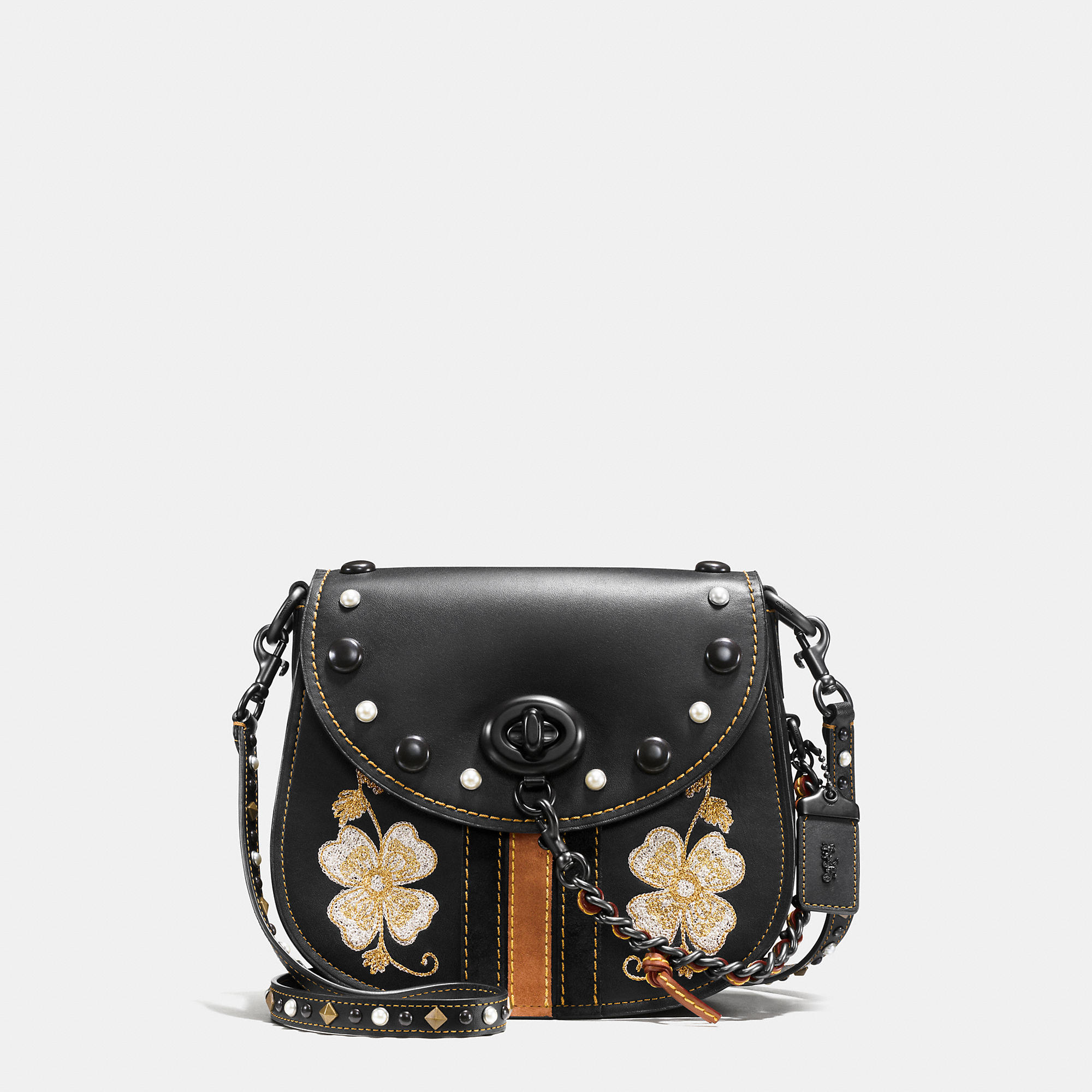 Coach Western Embroidery Turnlock Saddle Bag 23 In Glovetanned Leather