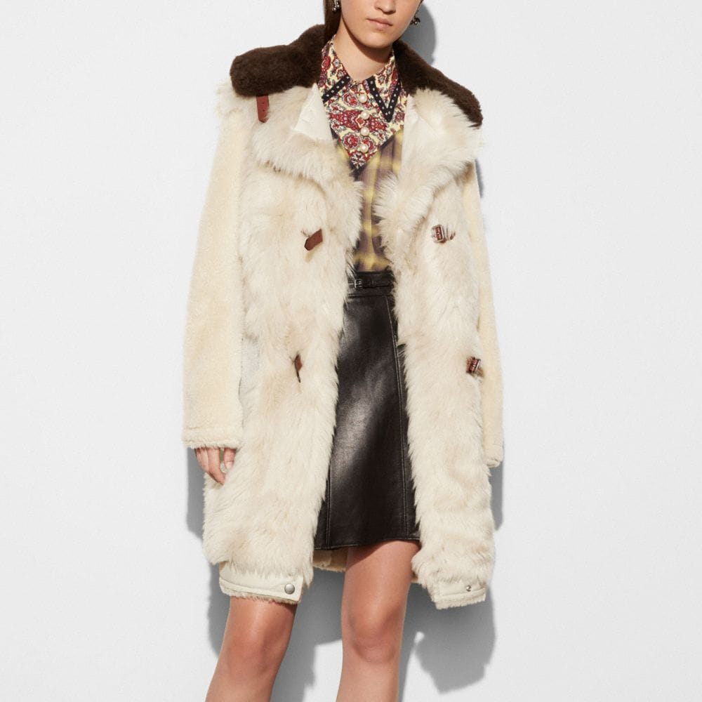 Coach White Mix Shearling Coat