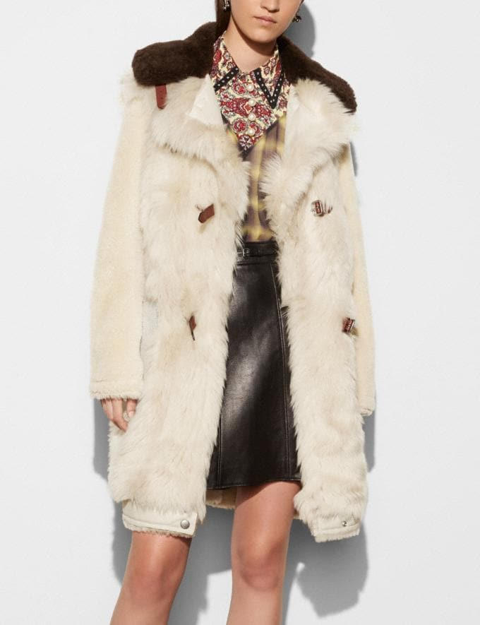 Coach White Mix Shearling Coat Vintage White Women Ready-to-Wear Outerwear