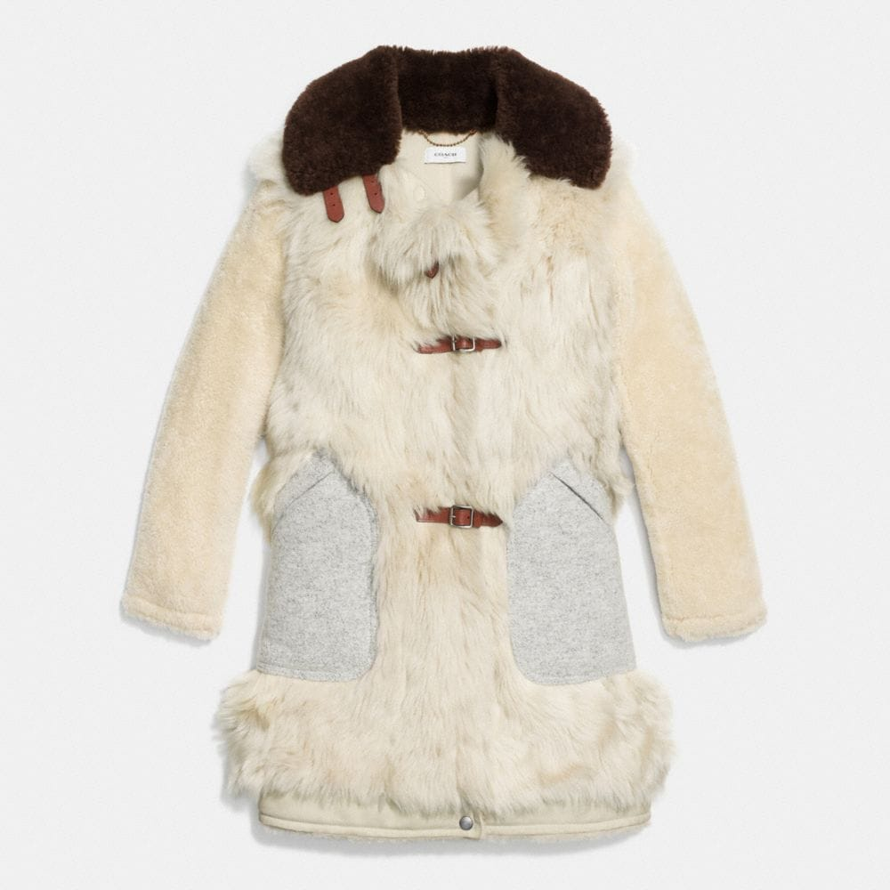 Coach White Mix Shearling Coat Alternate View 1