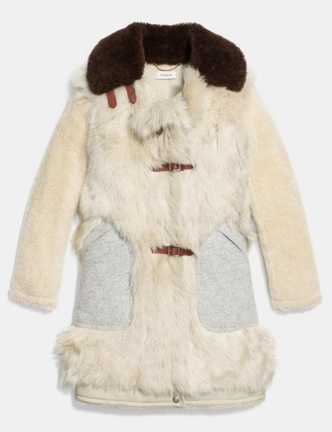 Coach White Mix Shearling Coat Vintage White Women Ready-to-Wear Outerwear Alternate View 1