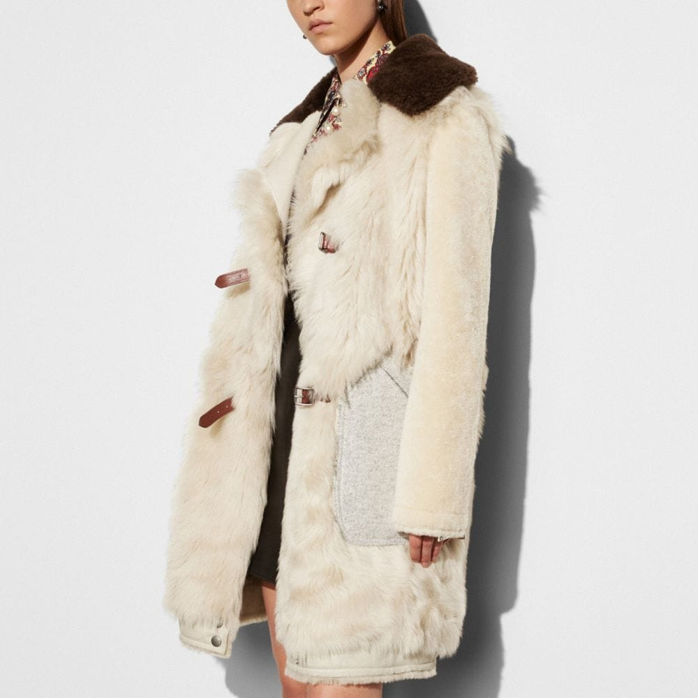 Coach White Mix Shearling Coat Alternate View 2