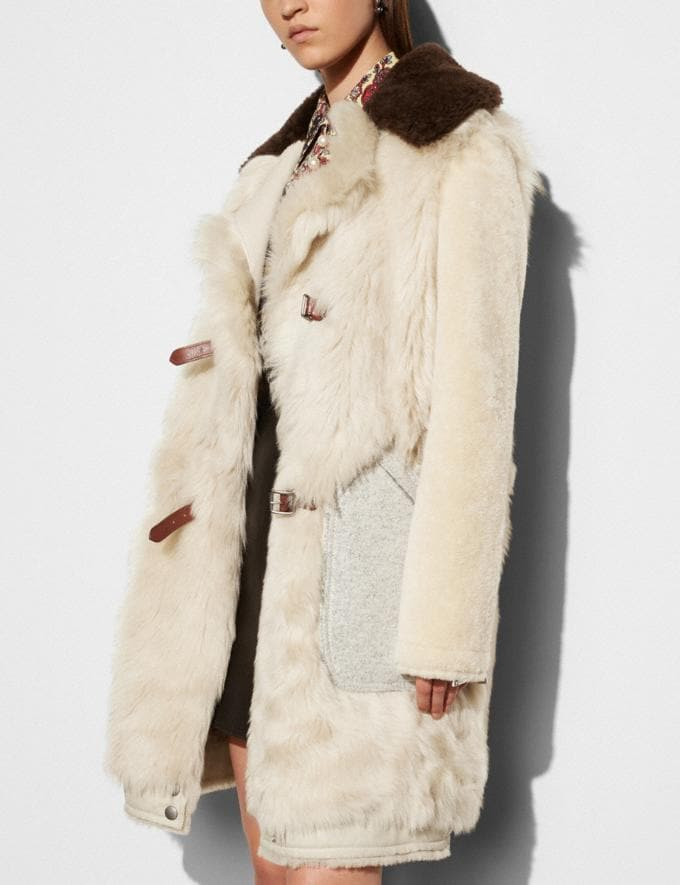 Coach White Mix Shearling Coat Vintage White Women Ready-to-Wear Outerwear Alternate View 2