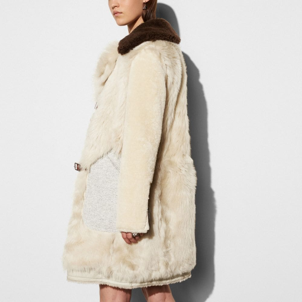 Coach White Mix Shearling Coat Alternate View 3