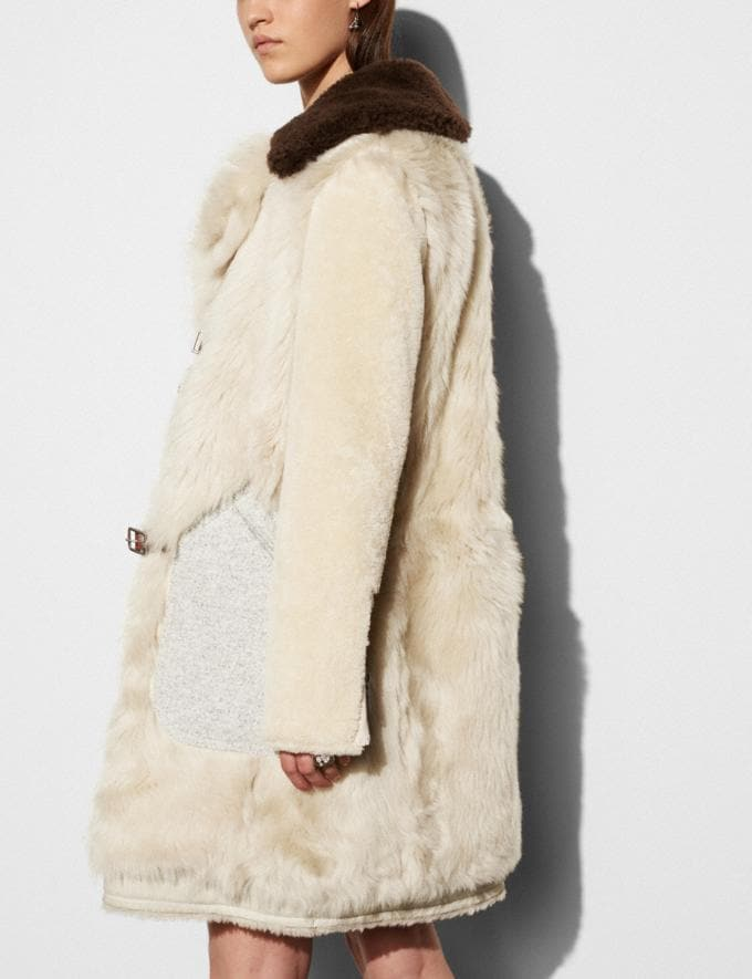Coach White Mix Shearling Coat Vintage White Women Ready-to-Wear Outerwear Alternate View 3