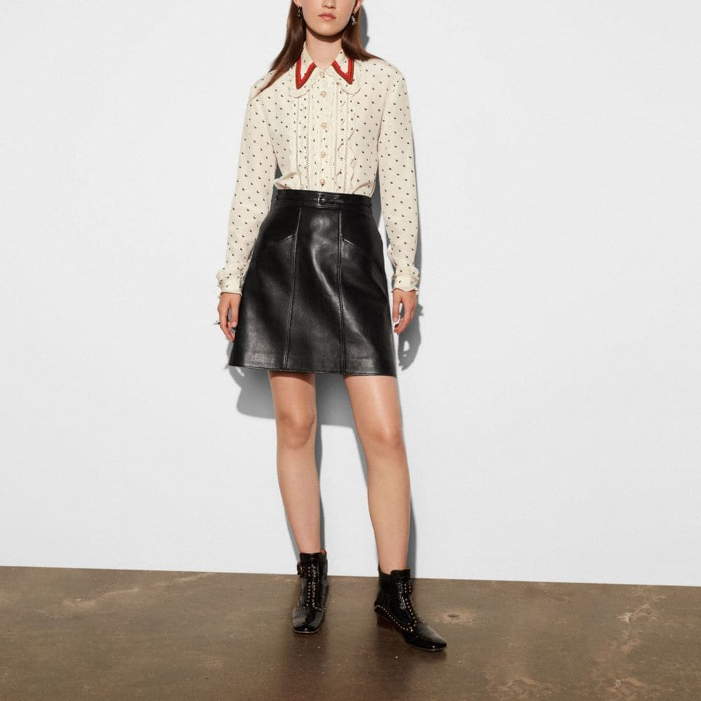 Coach Leather a-Line Skirt