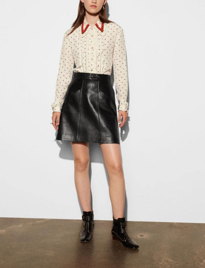 Coach Leather a-Line Skirt Black Women Ready-to-Wear Skirts