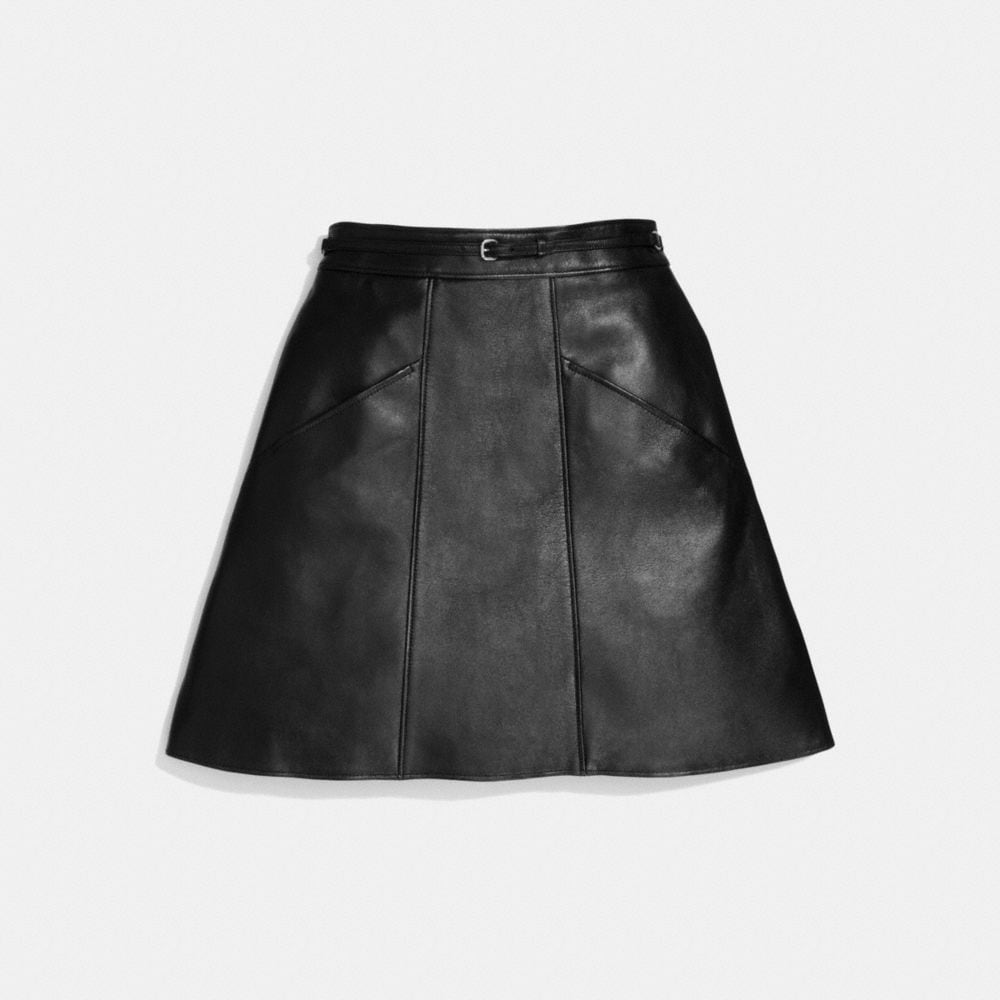 Coach Leather a-Line Skirt Alternate View 1