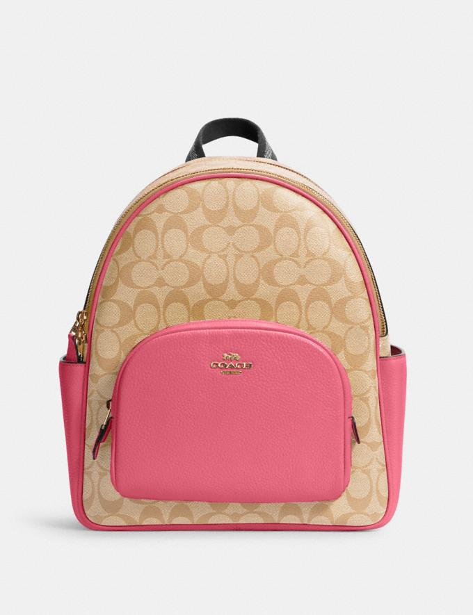 Coach Court Backpack in Signature Canvas Im/Light Khaki/Confetti Pink DEFAULT_CATEGORY