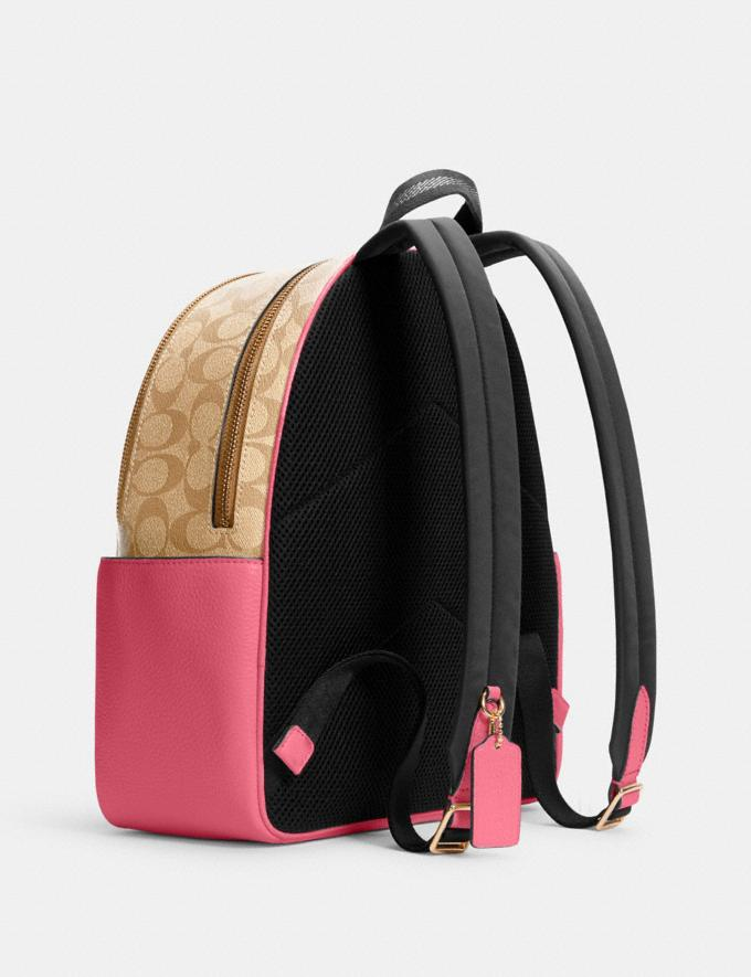 Coach Court Backpack in Signature Canvas Im/Light Khaki/Confetti Pink DEFAULT_CATEGORY Alternate View 1