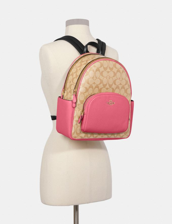Coach Court Backpack in Signature Canvas Im/Light Khaki/Confetti Pink DEFAULT_CATEGORY Alternate View 3