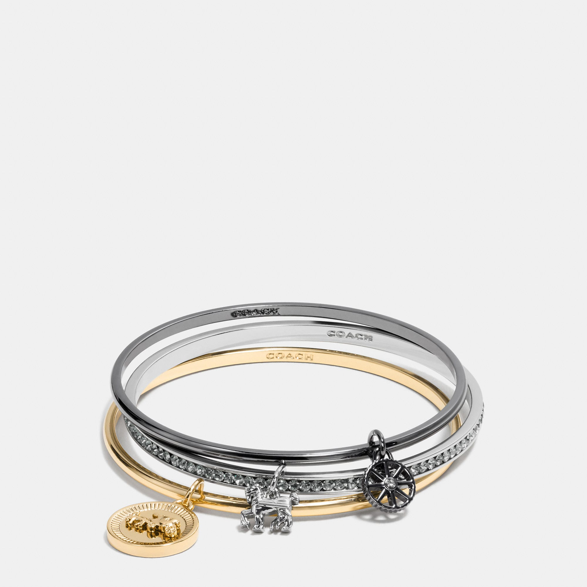 Coach Horse And Carriage Coin Mix Bangle Set