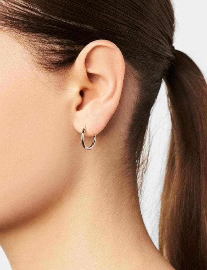 Coach Charm Base Hoop Earrings Gold Customization For Her Design Your Jewelry Alternate View 1