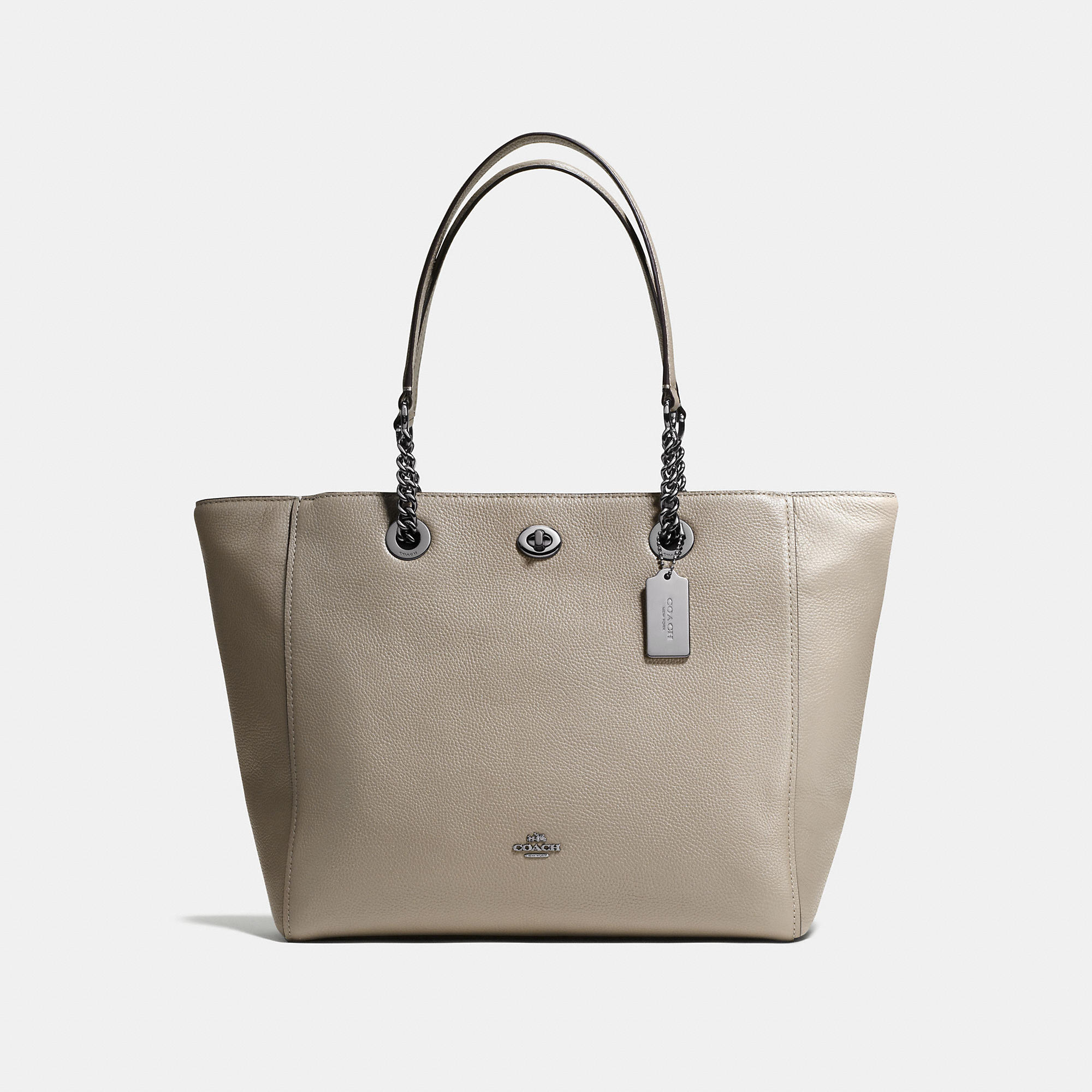 Coach Turnlock Chain Tote In Polished Pebble Leather