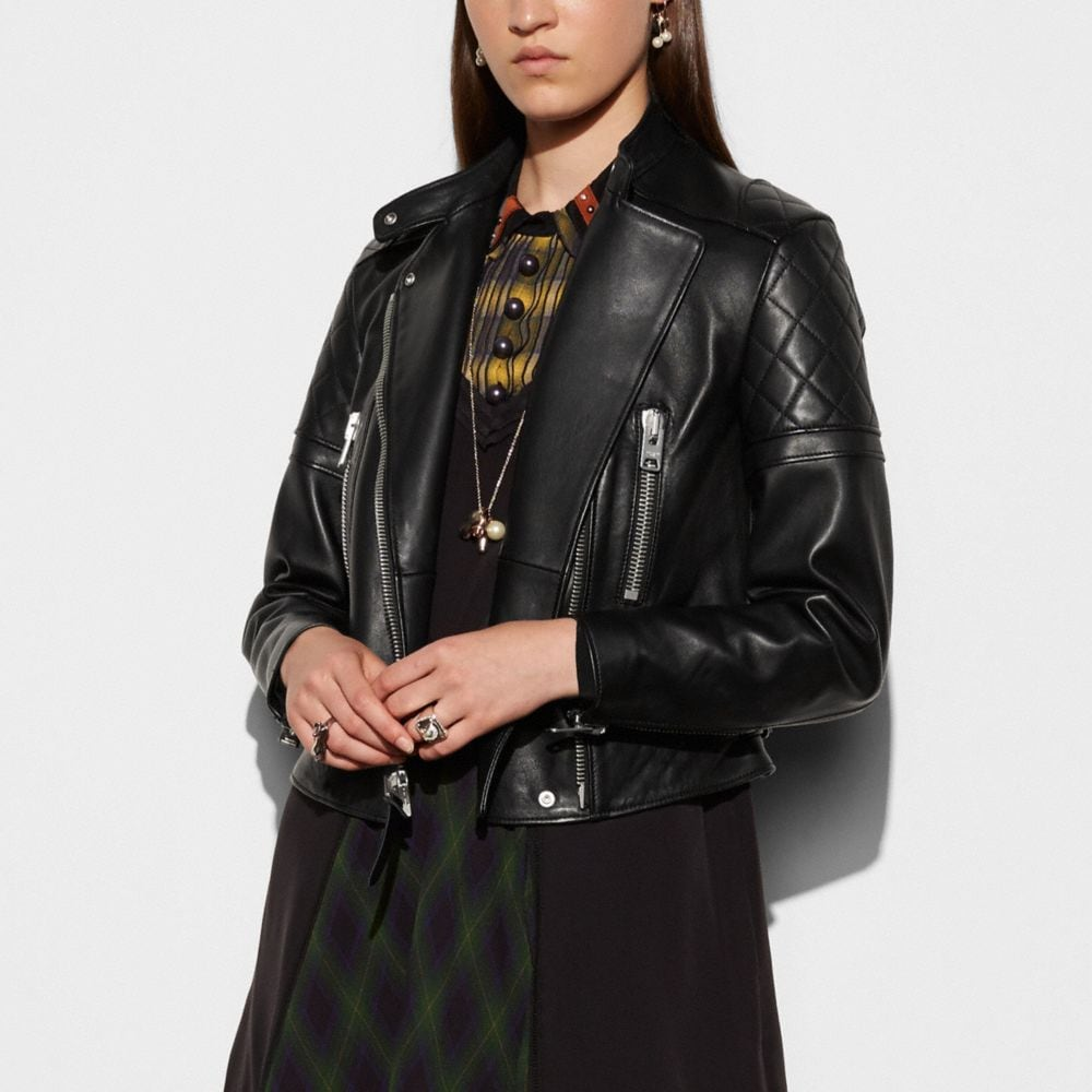 Coach Icon Leather Biker Jacket