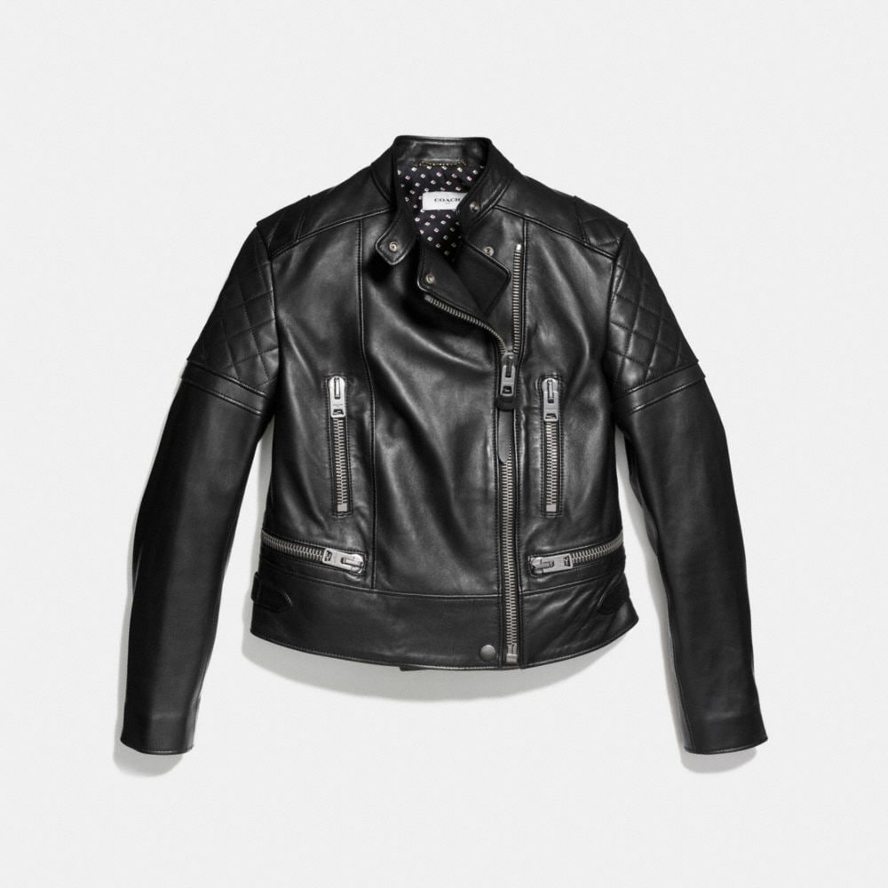 Coach Icon Leather Biker Jacket Alternate View 1