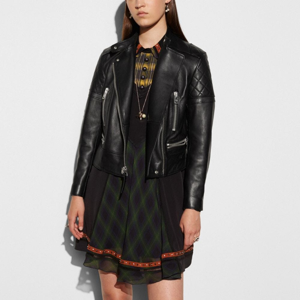 Coach Icon Leather Biker Jacket Alternate View 2