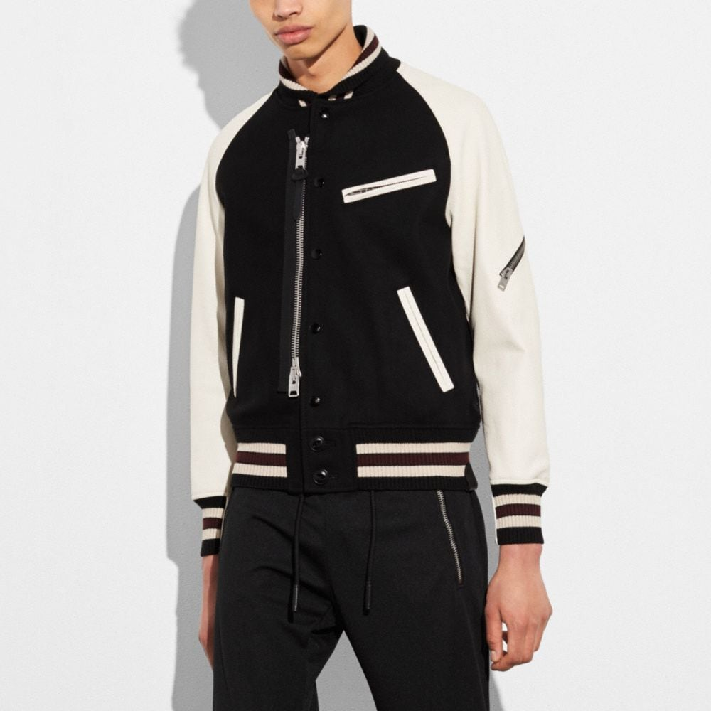 ZIPPED VARSITY JACKET