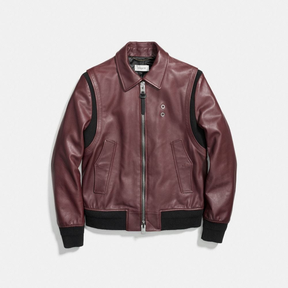 Coach Zip Front Bomber Jacket Alternate View 1