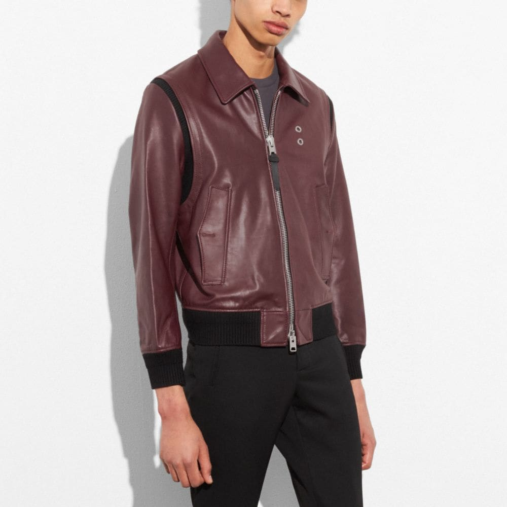 Coach Zip Front Bomber Jacket Alternate View 3