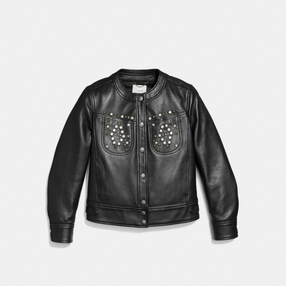 Coach Studded Leather Jacket Alternate View 1
