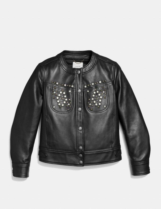 Coach Studded Leather Jacket Black Women Ready-to-Wear Outerwear Alternate View 1