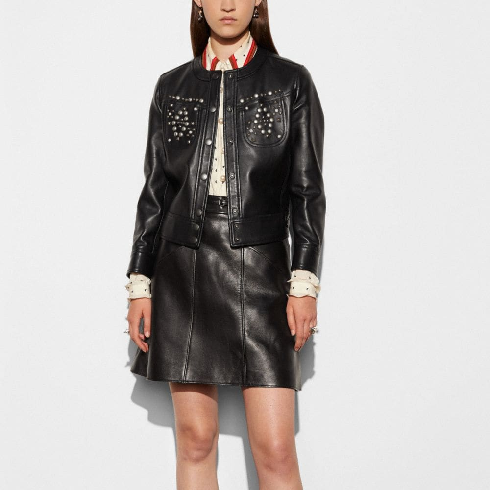 Coach Studded Leather Jacket Alternate View 2