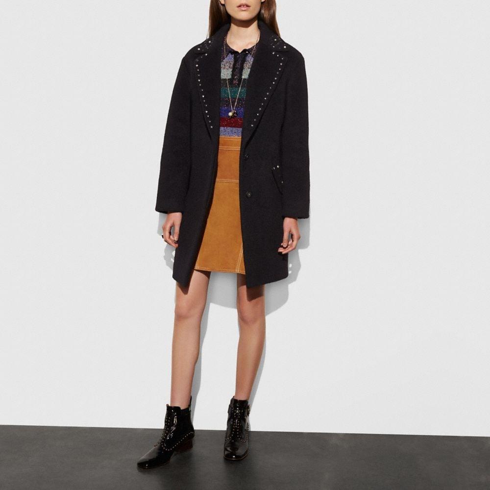 Coach Studded Wool Coat