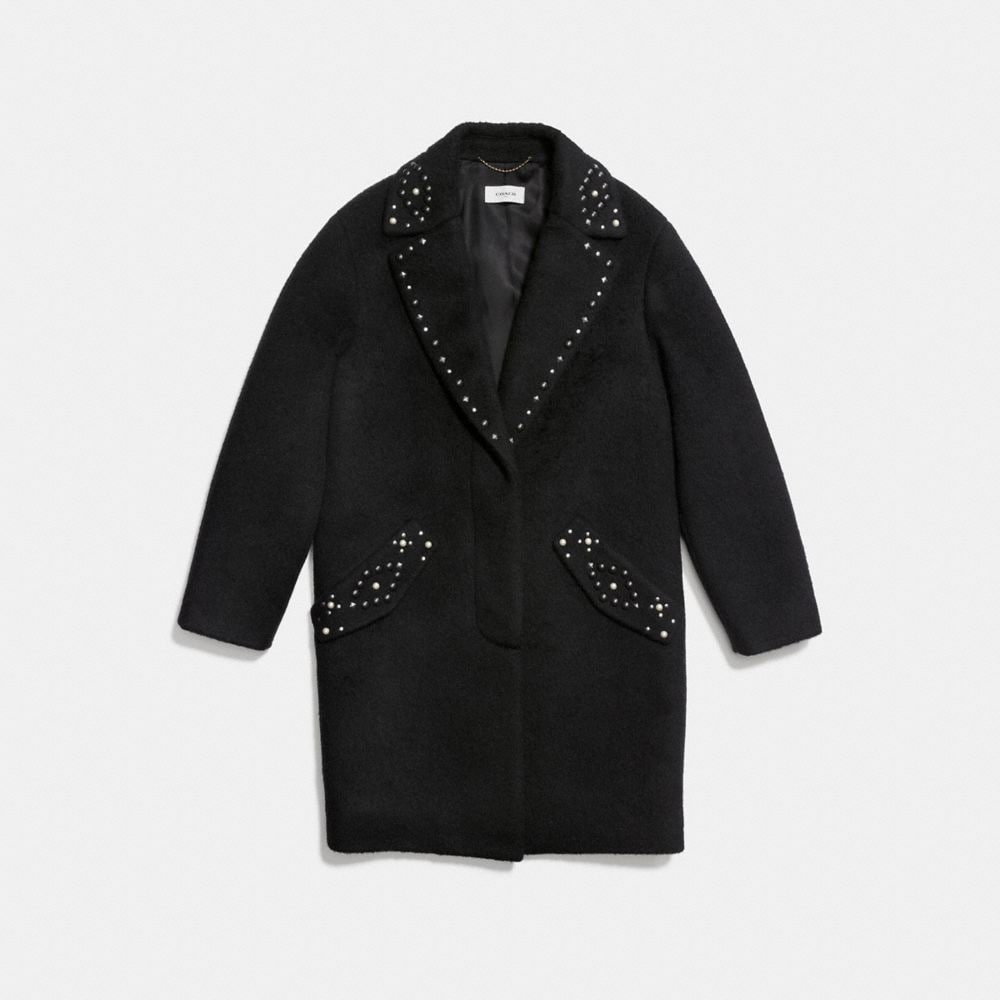 Coach Studded Wool Coat Alternate View 1