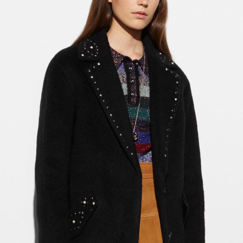 Studded Wool Coat - Alternate View M1