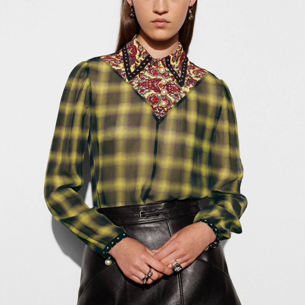 Coach Blouse With V Cut and Front Buttons Alternate View 2