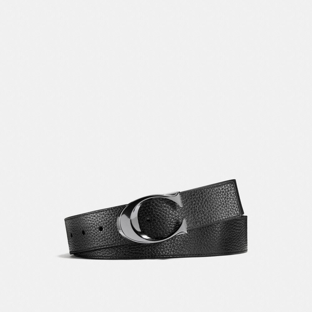 Coach Sculpted C Pebble Leather Cut-To-Size Reversible Belt