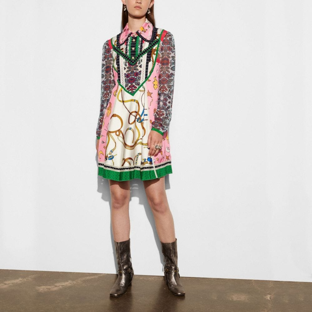 Coach Long Sleeve Victorian Print Dress