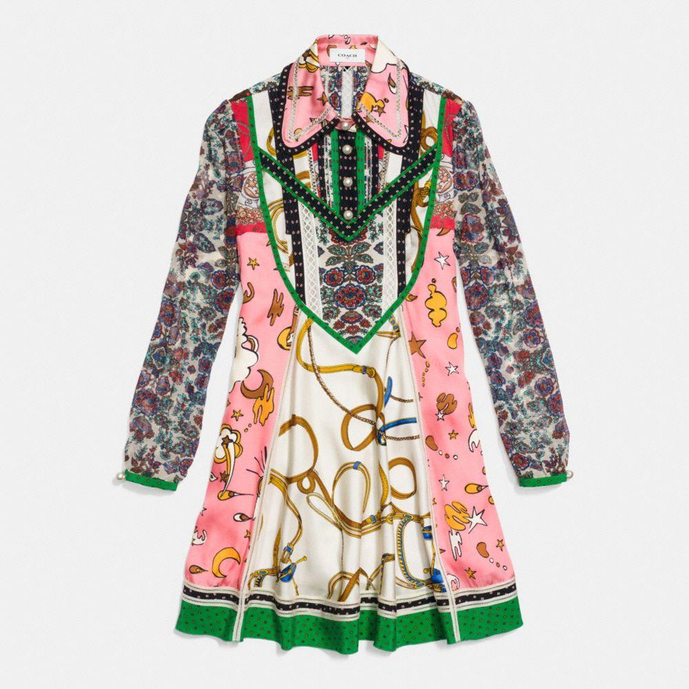 Coach Long Sleeve Victorian Print Dress Alternate View 1