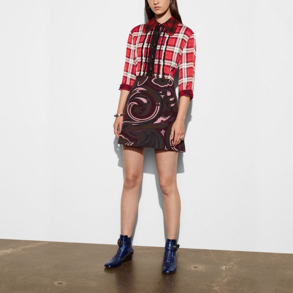 SHORT SLEEVE PLAID AND SCARF DRESS
