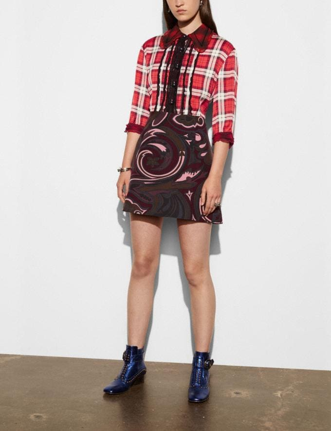 Coach Short Sleeve Plaid and Scarf Dress Red Women Ready-to-Wear Dresses