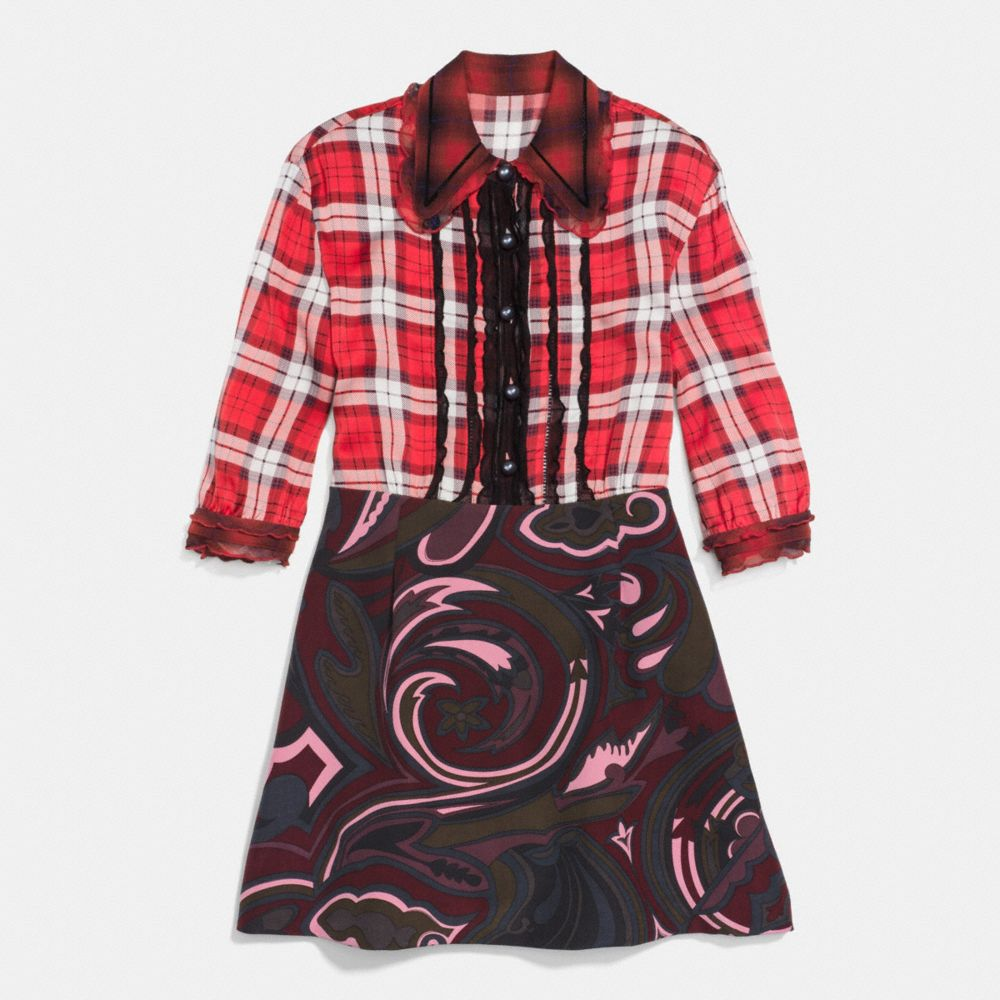 Coach Short Sleeve Plaid and Scarf Dress Alternate View 1