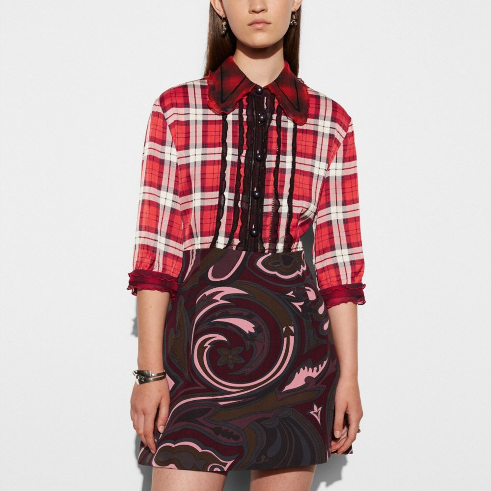 SHORT SLEEVE PLAID AND SCARF DRESS - Alternate View M1