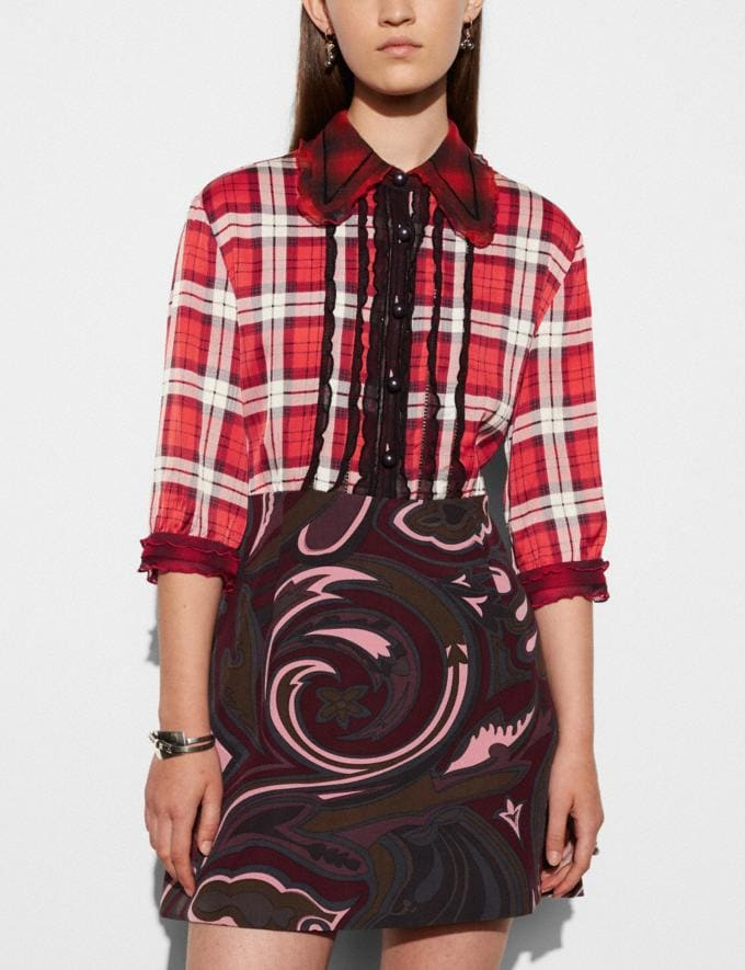 Coach Short Sleeve Plaid and Scarf Dress Red Women Ready-to-Wear Dresses Alternate View 2