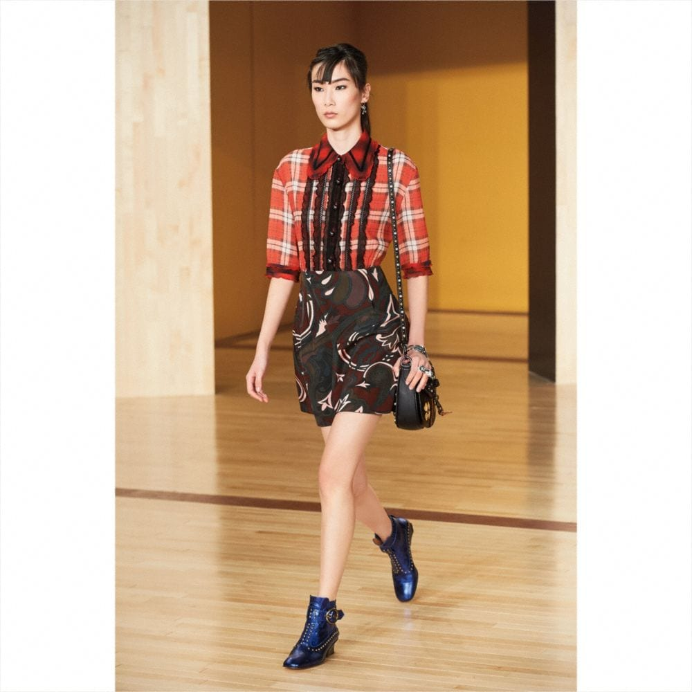 Short Sleeve Plaid and Scarf Dress - Alternate View M2