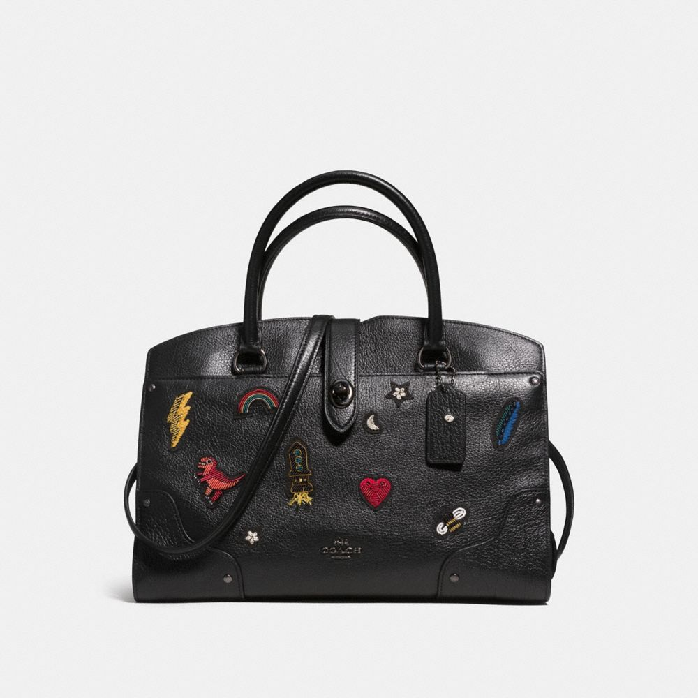 Mercer Satchel 30 in Grain Leather With Souvenir Embroidery