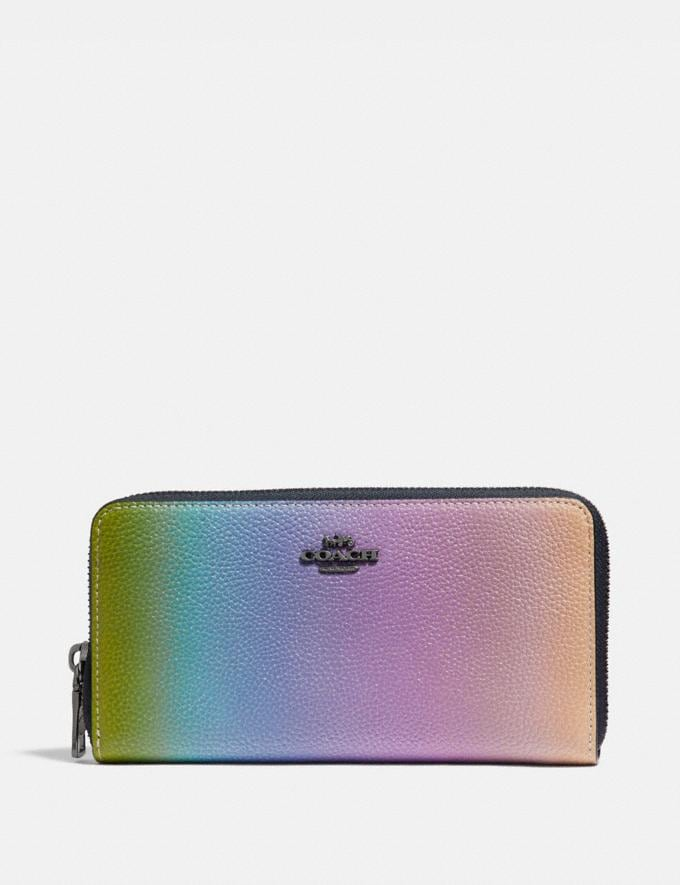 Coach Accordion Zip Wallet With Ombre Multicolor/Gunmetal New Women's New Arrivals Small Leather Goods