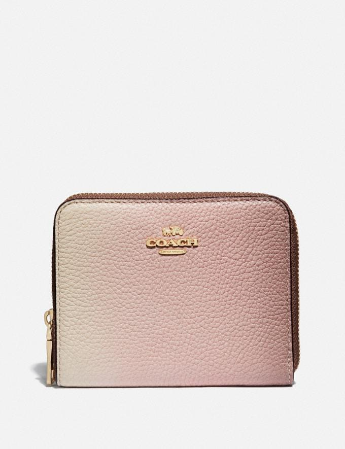 Coach Small Zip Around Wallet With Ombre Pink Multi/Gold New Women's New Arrivals Small Leather Goods
